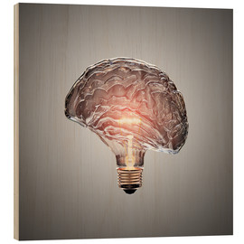 Wood print  Conceptual light bulb brain illustrated - Johan Swanepoel