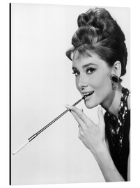Aluminium print  Audrey Hepburn with cigarette holder