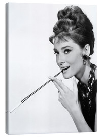 Canvas print  Audrey Hepburn with cigarette holder