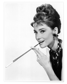 Poster Audrey Hepburn with cigarette holder