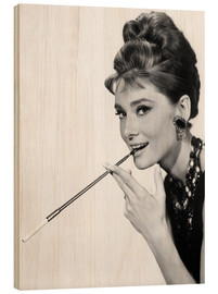 Wood print  Audrey Hepburn with cigarette holder