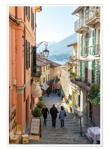 Premium poster Street in the town of Bellagio, lake Como, Italy