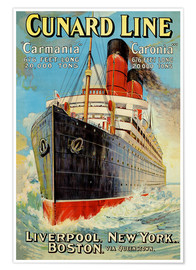 Premium poster  Cunard Line - Liverpool, New York, Boston - Edward Wright