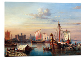 Acrylic print  Viking boats on the Thames. - Everhardus Koster