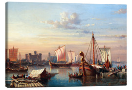 Canvas print  Viking boats on the Thames. - Everhardus Koster