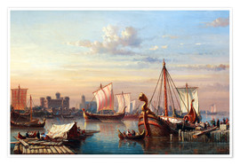 Premium poster  Viking boats on the Thames. - Everhardus Koster