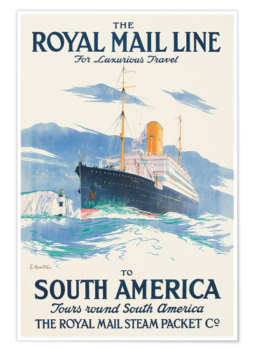 Premium poster Rhe Royal Mail Line to South America.