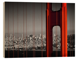 Wood print  Golden Gate Bridge in Detail - Melanie Viola