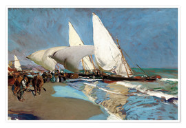 Premium poster  The Beach at Valencia - Joaquín Sorolla y Bastida