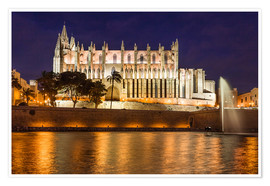Premium poster  Cathedral of Palma de Mallorca at night - Christian Müringer