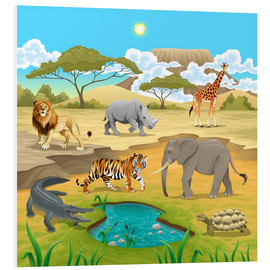 Foam board print  African animals in a savannah - Kidz Collection