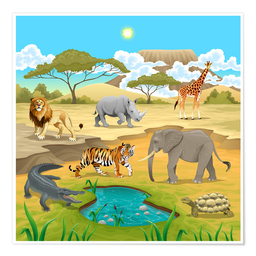 African Animals In A Savannah Posters And Prints