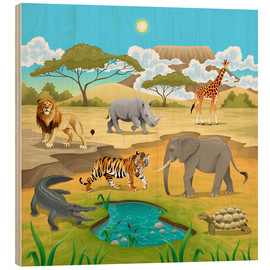 Wood print  African animals in a savannah - Kidz Collection
