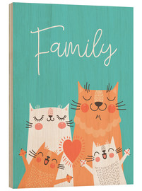 Wood print  Family cats - Kidz Collection