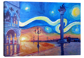 Canvas  Starry Night in Venice Italy San Marco with Lion - M. Bleichner
