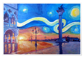 Premium poster Starry Night in Venice Italy San Marco with Lion
