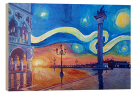 Wood print  Starry Night in Venice Italy San Marco with Lion - M. Bleichner