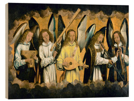Wood print  Five musical angels - Hans Memling