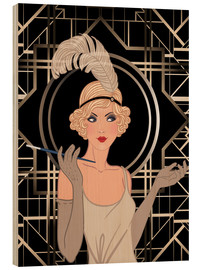 Wood print  Smart flapper girl