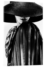 Acrylic print  Woman with black hat