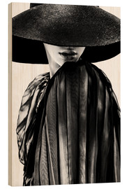 Wood print  Woman with black hat