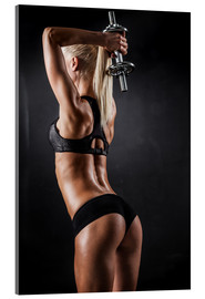 Acrylic glass  athletic woman with dumbbells