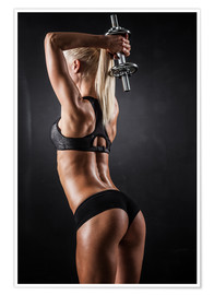 Premium poster  Athletic woman with dumbbells