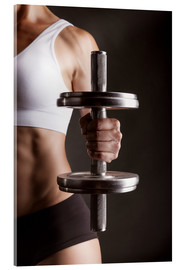 Acrylic print  Sportswoman with dumbbell