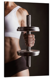 Alu-Dibond  Sportswoman with dumbbell