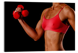 Acrylic print  Fitness woman with dumbbells