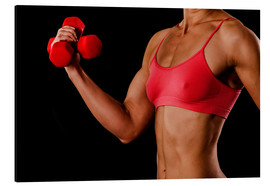 Alu-Dibond  Fitness woman with dumbbells