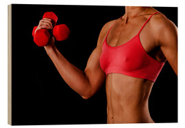 Wood print  Fitness woman with dumbbells