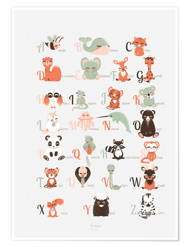 Poster abc animals  french