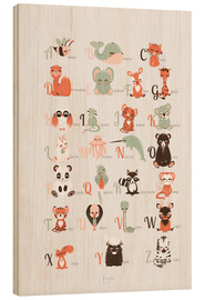 Wood print  ABC animals (French) - Kanzilue
