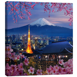 Canvas  Tokyo tower and Mt. Fuji