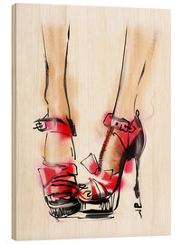 Wood print  Red High Heels
