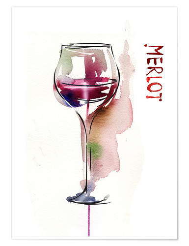 Premium poster Glass of Merlot