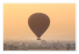Premium poster  Hot air balloon over temples of Bagan, Myanmar