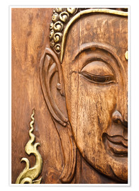 Premium poster  Wood face of the Buddha