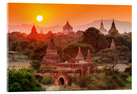 Acrylic glass  Temples of Bagan at sunset