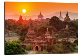 Aluminium print  Temples of Bagan at sunset