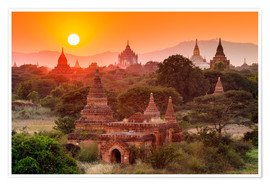 Premium poster  Temples of Bagan at sunset