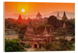 Wood print  Temples of Bagan at sunset