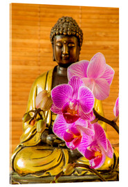 Acrylic print  Buddha with orchid