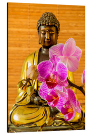 Alu-Dibond  Buddha with orchid