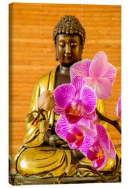 Canvas  Buddha with orchid