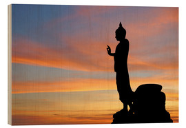 Wood print  buddha with beautiful sky