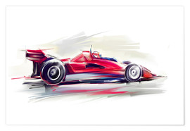 Poster  Red Race Car