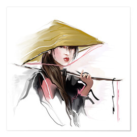 Premium poster  Asian fisherwoman
