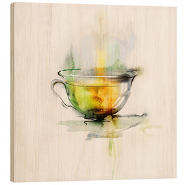 Wood print  Hot chamomile tea